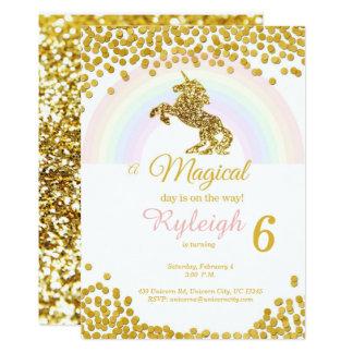 Einhorneinladungen im Gold 12,7 X 17,8 Cm Einladungskarte