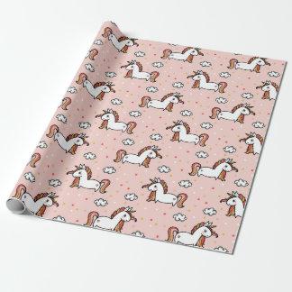 Einhörner u. Confetti erröten rosa Muster Geschenkpapier