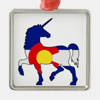Einhörner und Colorado! Silbernes Ornament