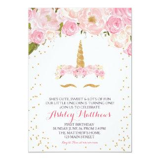 Einhorngeburtstags-Rosa schöne Blumeneinladung, Karte