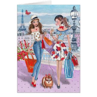 Einkauf Geburtstags-Karte in der Paris-Mädchen-| Grußkarte