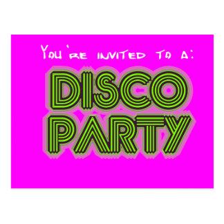 Einladung an ein Disco-Party Postkarte