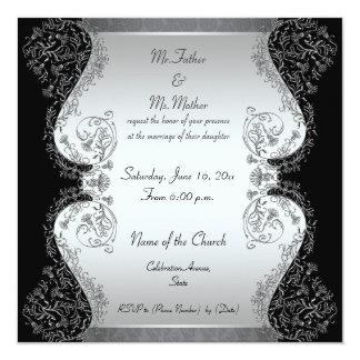 Einladungen des Silbers und elegante der Hochzeit