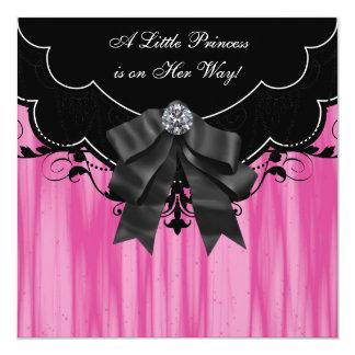Einladungen Pink-schwarze Prinzessin-Babyparty