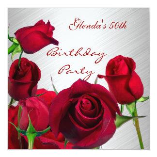 Einladungs-50. Geburtstags-Party-Rote Rosen weiß Karte