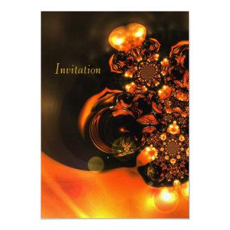 Einladungs-abstrakte Kunst-Orangen-Juwelen 12,7 X 17,8 Cm Einladungskarte
