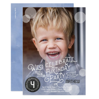 Einladungs-Junge Geburtstags-Partywatercolor-  Karte