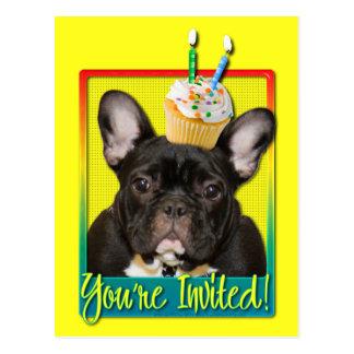 Einladungs-kleiner Kuchen 2-Jährige - französische Postkarte