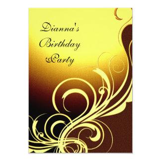 Einladungs-Party-elegantes gelbes Gold Brown mit Karte