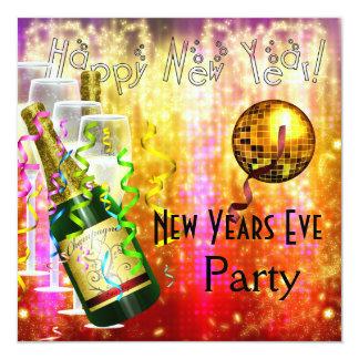 Einladungs-Party-Silvester-rotes orange Gold Karte