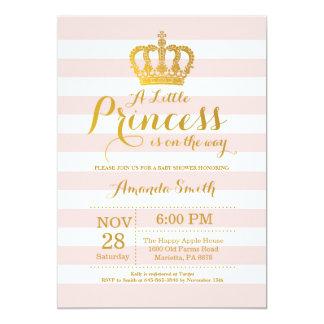 Einladungs-Rosa und Gold Prinzessin-Babyparty Karte