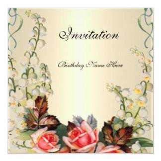 Einladungs-viktorianische hübsche BlumenRosen Quadratische 13,3 Cm Einladungskarte