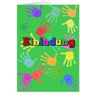 Einladungskarte für Kinder Hände grün Karte