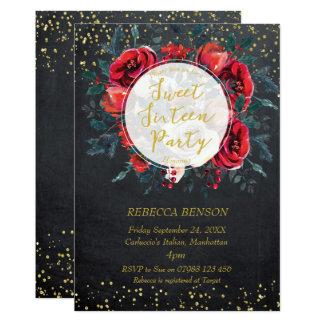 Einladungswinterblumengoldconfetti des Bonbons 16 Karte