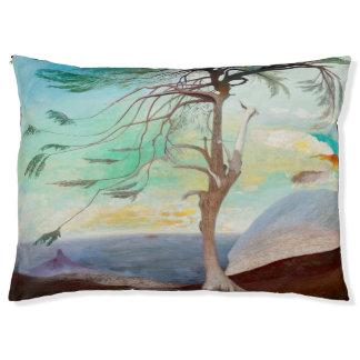 Einsame Zedern-Baum-Landschaftsmalerei Haustierbett