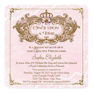 Einst Prinzessin Birthday Party Quadratische 13,3 Cm Einladungskarte