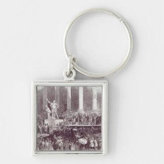Einweihung von Präsidenten Polk: Der Eid Silberfarbener Quadratischer Schlüsselanhänger
