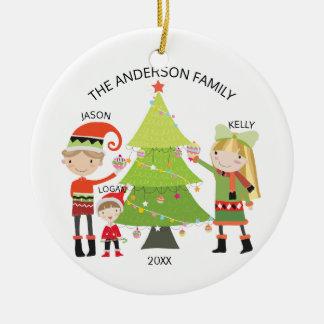 Einzigartige Familie der personalisierten Keramik Ornament