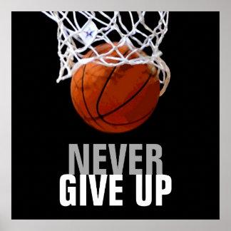 Einzigartige moderne geben nie Basketball auf Poster