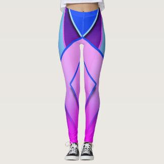 Einzigartige und niedliche blaue lila rosa leggings