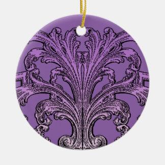 Einzigartiger Vintager Strudel Ombre lila Rundes Keramik Ornament