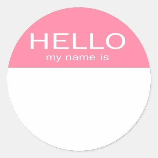Einzigartiges Hallo Mein Name Ist Baby Rosa Runder Aufkleber