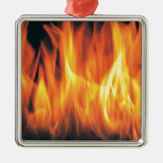 Einzigartiges Rot - heißes Quadratisches Silberfarbenes Ornament
