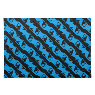 Einzigartiges u. cooles schwarzes u. azurblaues stofftischset
