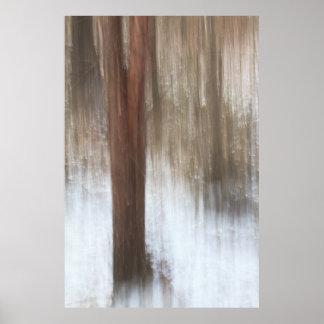 Einziger Baum im Schnee abstrakt Poster