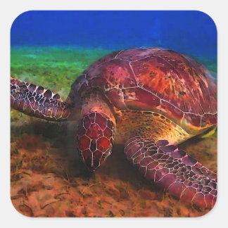 Einziger Meeresschildkröte-Aufkleber Quadratischer Aufkleber