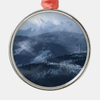 Eis-Affe Rundes Silberfarbenes Ornament