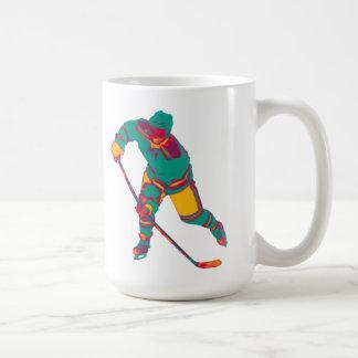 Eis-Hockey-Spieler (aquamarin), personalisierte Kaffeetasse