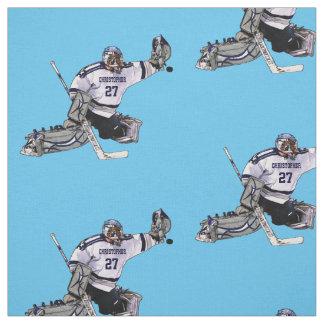 Eis-Hockey-Torhüter mit Ihrem Namenszeichnen Stoff