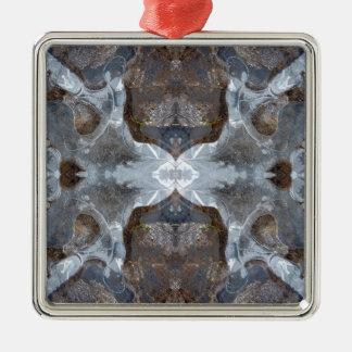 Eis-Kaleidoskopmuster Quadratisches Silberfarbenes Ornament