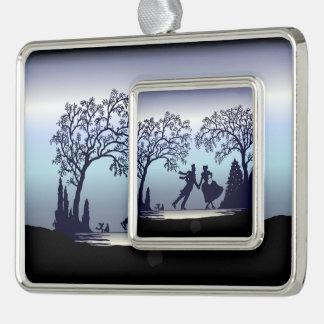 Eis-Skaten im Park - Silhouette Rahmen-Ornament Silber