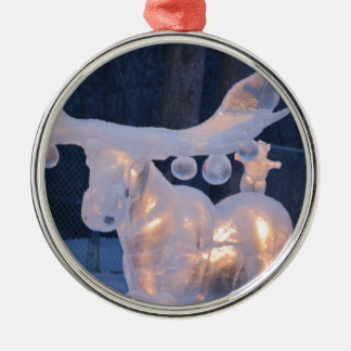 Eis-Skulptur-Schnee gefrorener Winter würzt Wetter Silbernes Ornament