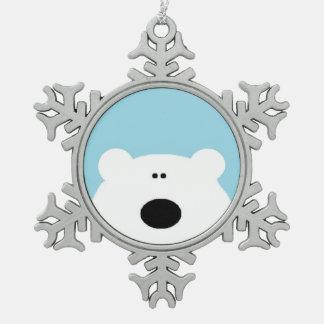 Eisbär-Blau Schneeflocken Zinn-Ornament