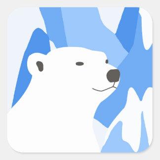 Eisbär im kalten Entwurf Quadratischer Aufkleber
