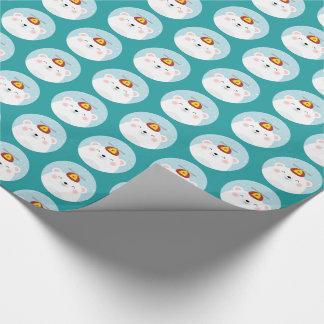 Eisbär in einem Propeller-Hut-Muster Geschenkpapier