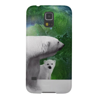 Eisbär, Junges und Nordlichtaurora Samsung Galaxy S5 Hüllen