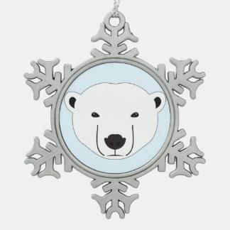 Eisbär Schneeflocken Zinn-Ornament