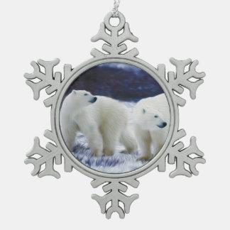 Eisbär-Spielen Schneeflocken Zinn-Ornament