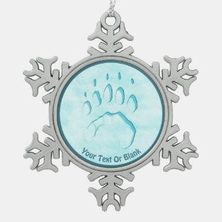 Eisbär-Tatzen-Druck Schneeflocken Zinn-Ornament