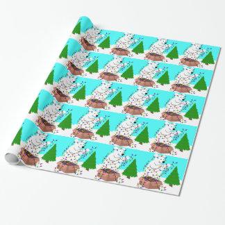 Eisbär-und Baum-Lichter Geschenkpapier