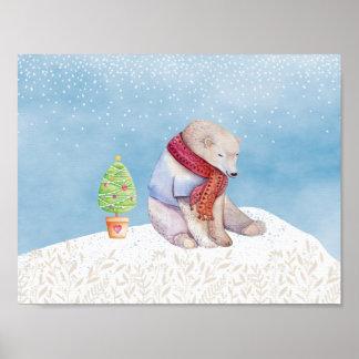 Eisbär-und Weihnachtsbaum im Schnee Poster