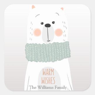 Eisbär - wärmen Sie Wünsche - Weihnachtsaufkleber Quadratischer Aufkleber