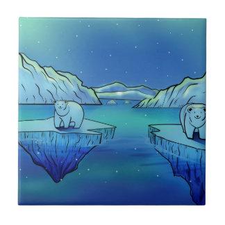Eisbären und Nordlichter Keramikfliese