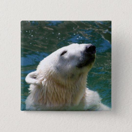 Eisbärlächeln Quadratischer Button 5,1 Cm