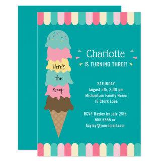 Eiscreme-Kindergeburtstag-Party aquamarin Karte