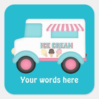 Eiscreme-LKW addieren Wortaufkleber Quadratischer Aufkleber
